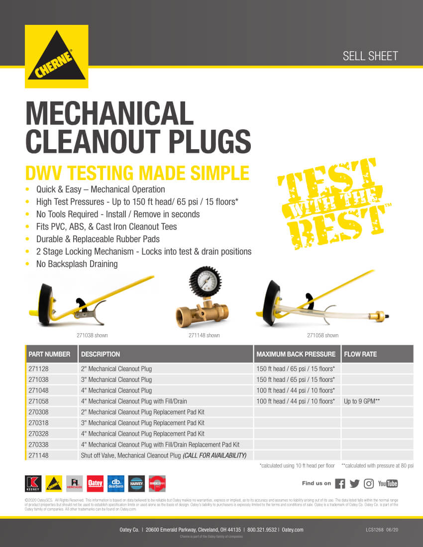 Cherne Mechanical Cleanout Plug Sell Sheet