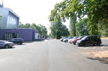 car park staff 4 buildings walkway contemporary