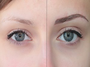 До и после перманентного татуажа бровей волосковым методом