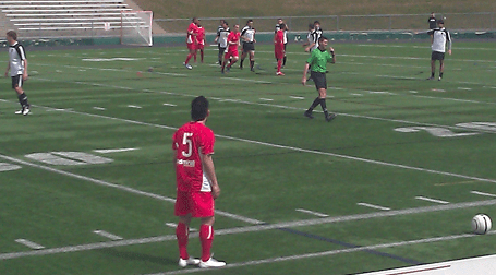 Reds midfielder Jason Garcia gets set for a free kick in the first half of Sunday's U.S. Open Cup contest against Mass Premier Soccer. (Photo: Brian O'Connell)