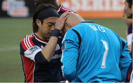 Revolution Matt Reis (R), seen here with teammate Lee Nguyen prior to a game last season, spoke about his family's struggles after his father-in-law was critically-injured during Monday's Boston Marathon bombings. (Photo: Kari Heistad/CapturedImages.biz)