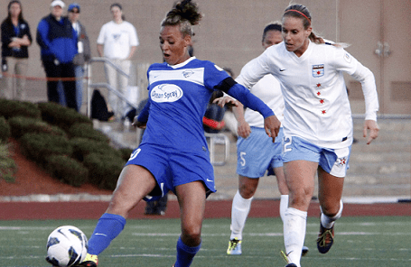 Breakers' midfielder Lianne Sanderson collected three assists in Saturday's 3-0 win over Washington. (Photo: Chris Aduama/aduama.com)