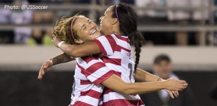 Hanson, Mass. native/BC Alum Kristie Mewis celebrates her first international goal with Boston Breakers forward Sydney Leroux. (Photo: @USSoccer)