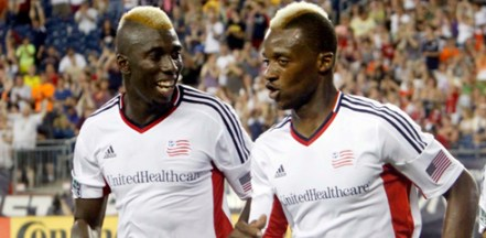 Saer Sene and Dimitry Imbongo celebrate Imbongo's goal against San Jose on Saturday night. (Photo: Chris Aduama/aduama.com)
