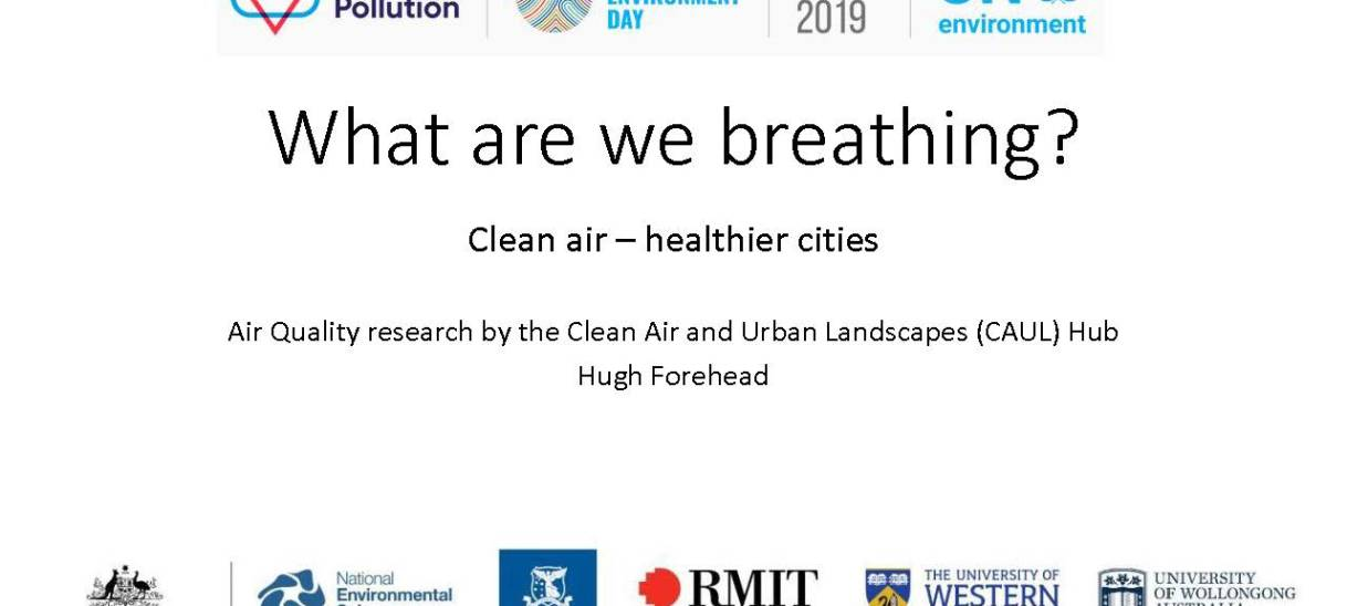 What are we breathing? Clean air – healthier cities. Presentation prepared for World Environment Day 2019