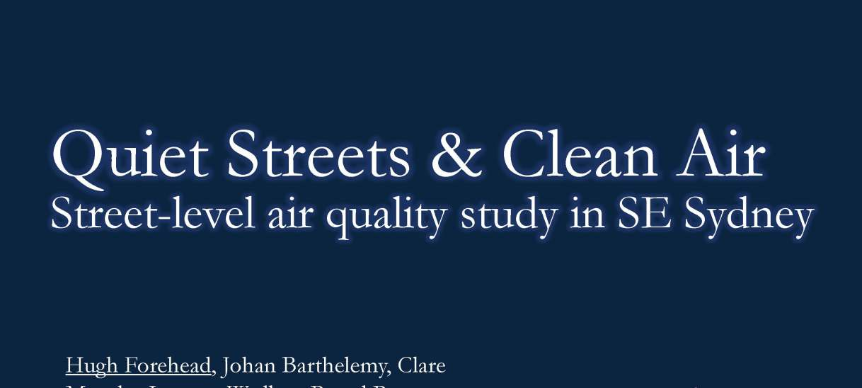 Quiet Streets and Clean Air: Street-level air quality study in SE Sydney. A presentation given by Pascal Perez at the International Symposia for Next Generation Infrastructure (ISNGI), London