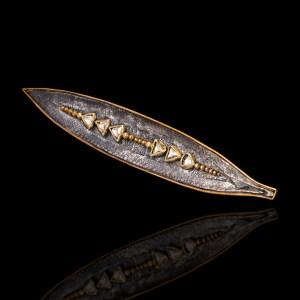 BRO21 Καρφίτσα σε χρυσό 18Κ και ασήμι με διαμάντια (0.34 ct)