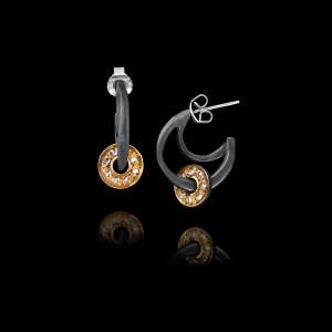 Χειροποίητα σκουλαρίκια σε οξειδωμένο ασήμι και χρυσό