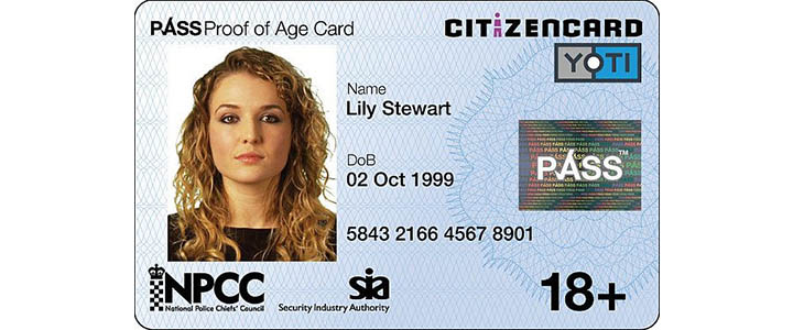 Citizen Card - Great Britain. Picture of young lady with her name date of birth and photograph.