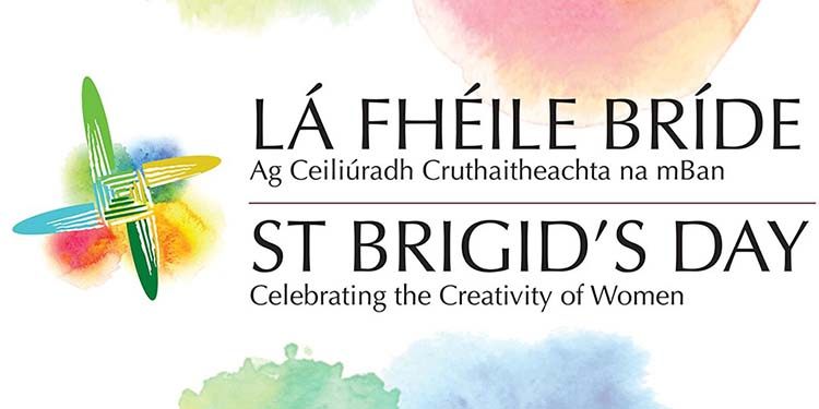 St Brigids Day logo  - text as Gaeilge and in English with the tagline 'Celebrating the Creativity of Women'
