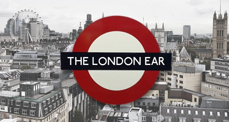 The London Ear logo in front of the London city skyline