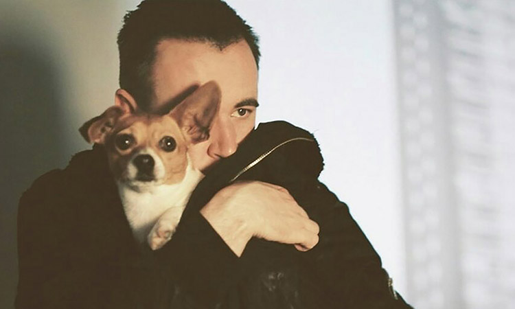The Late David Turpin Promo shot hugging Queenie the dog