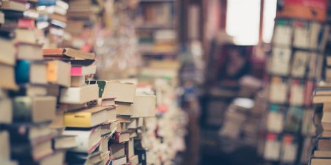 Walls of books in an old shop