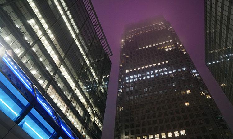 Futuristic sci-fi looking Canary Wharf skyline