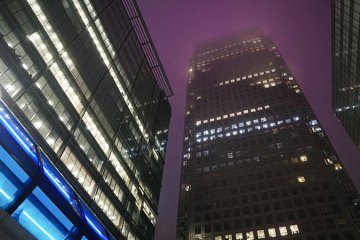 Futuristic sci-fi looking Canary Wharf skyline