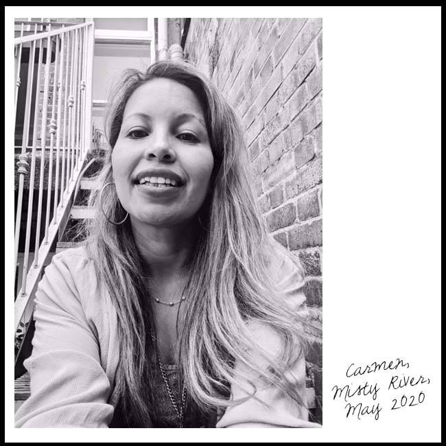 Carmen from the band Misty River, selfie outdoors on a step