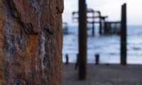 Rusty pillar of the West Pier in Brighton