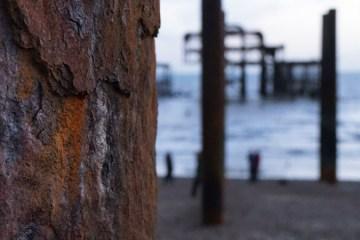 Rusty pillar of the West Pier in Brighton