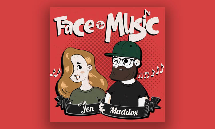 Cartoon images of Jen and Maddox with their names in front of them and Face the Music in big font above them