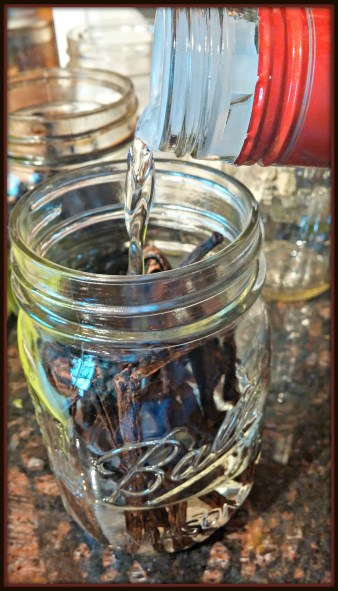 Homemade Vanilla Extract-Pouring the vodka into the jar