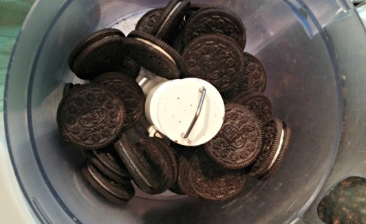Start with whole Oreos in the food processor