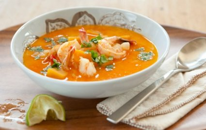 butternut-squash-and-coconut-soup-and-shrimp
