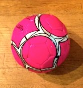 I love the fact that my strong willed 4 year old chose a hot pink soccer ball. Gender barriers, there you go!