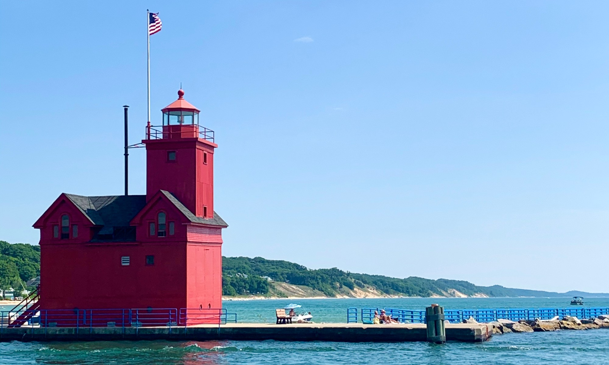 A red lighthouse