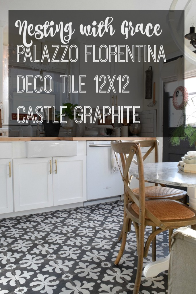 White Kitchen remodel with patterned tile and butcher block counter tops. Palazzo Florentina Deoco Tile.