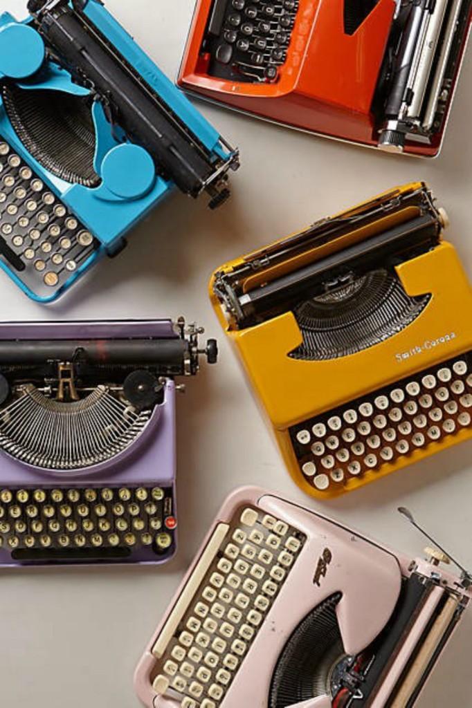 vintage typewriter spray painted gold