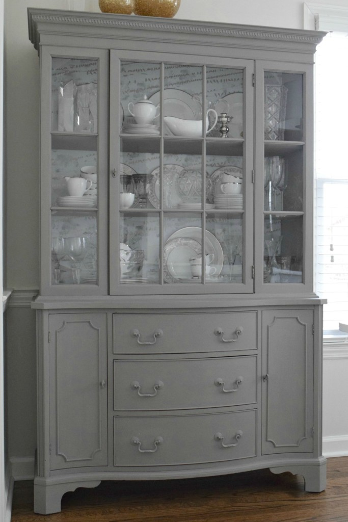 White Hutch With Wallpaper Back