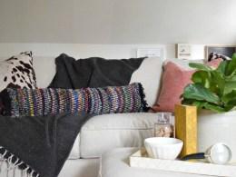 bohemian diy rug turned pillow
