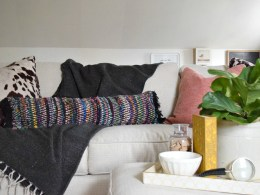 bohemian diy rug turned pillow