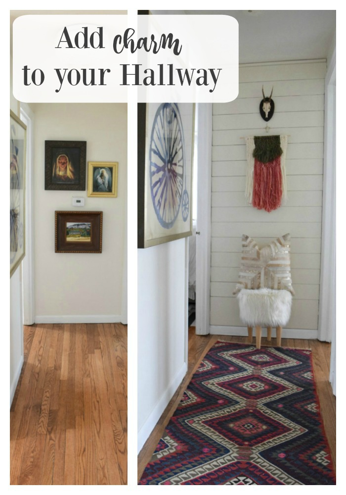 planked wall and antique runner update hallway 1
