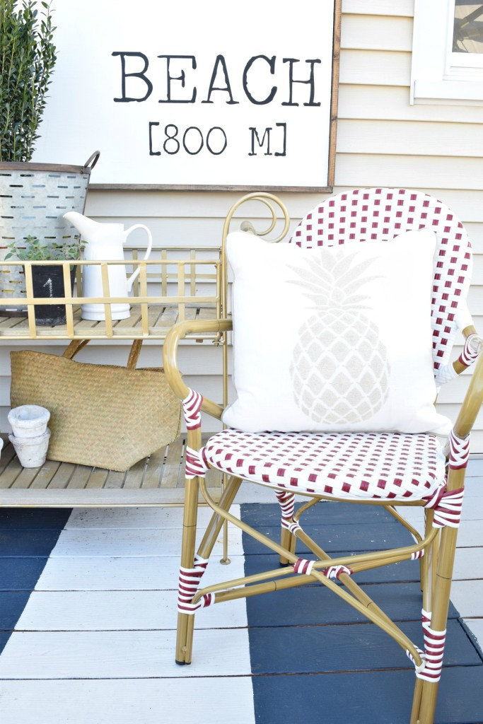 backyard ideas and painted deck remodel beach sign