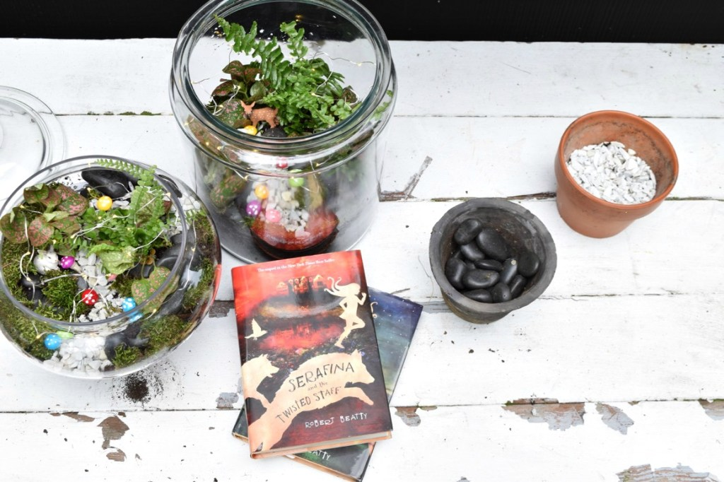 Supplies and how to make a DIY glass terrarium. Serbian and the twisted staff book review