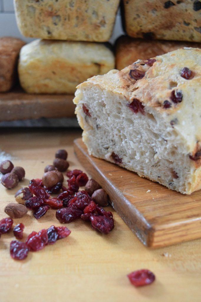 Easy Homemade Artisan Bread Recipe- 6 Different Ways Cranberry Hazelnut