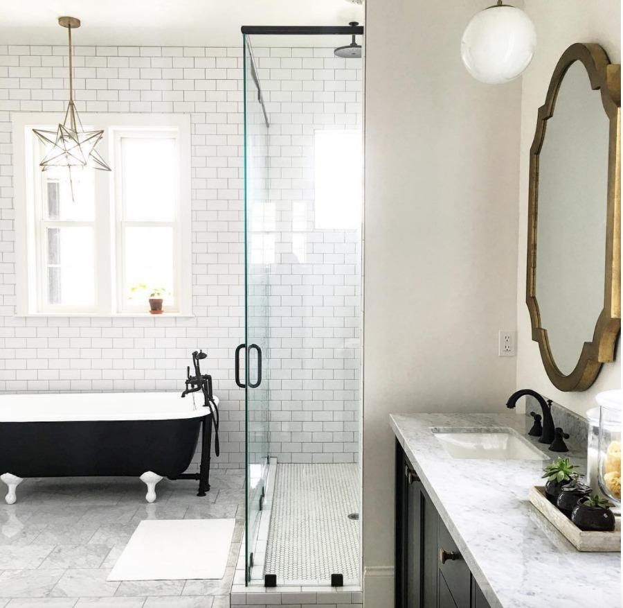 Home Tour- Black and White Bathroom and Gorgeous White Kitchen