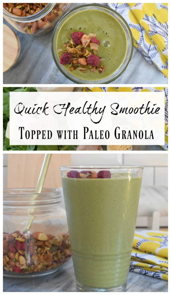 Quick Healthy Smoothie- Topped with Paleo Granola