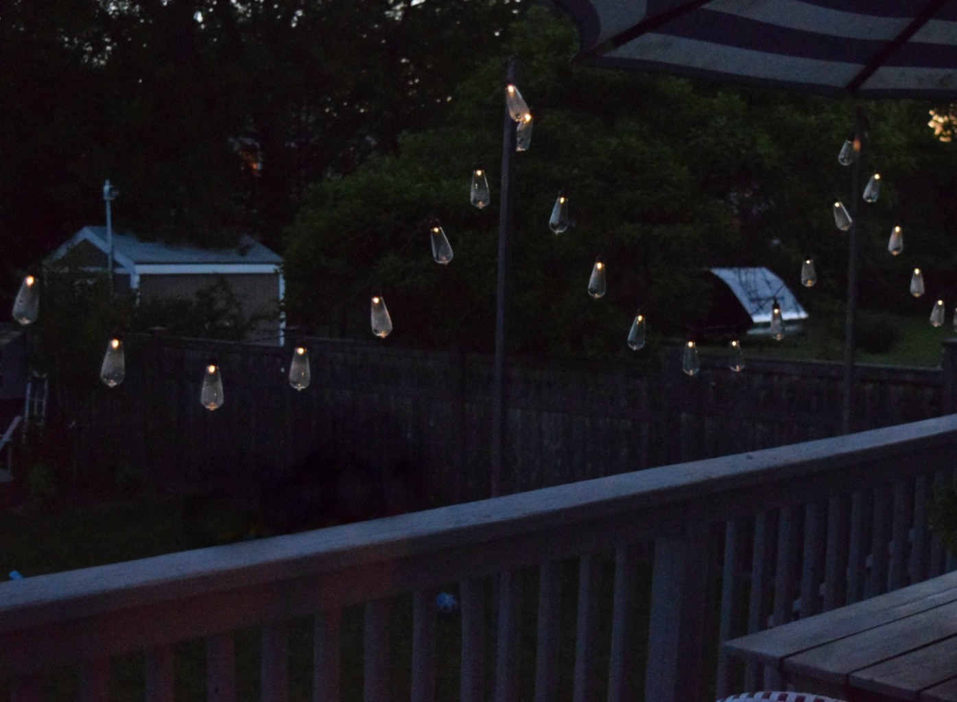 Patio String Lights  Solar Powered And DIY Wood Poles
