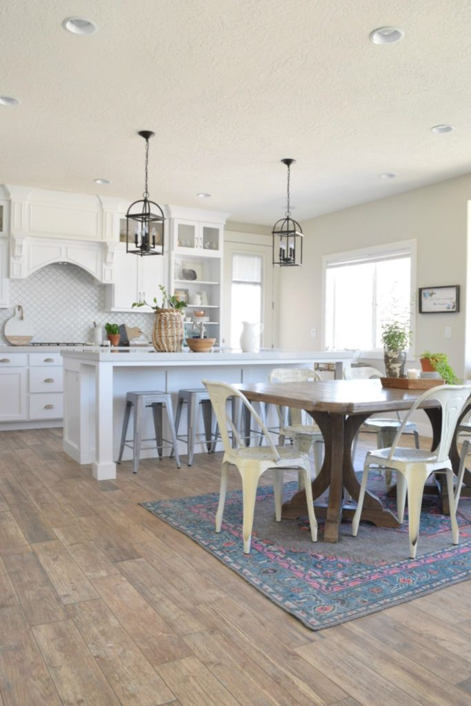 Great Room with White Kitchen- Open Floor Plan