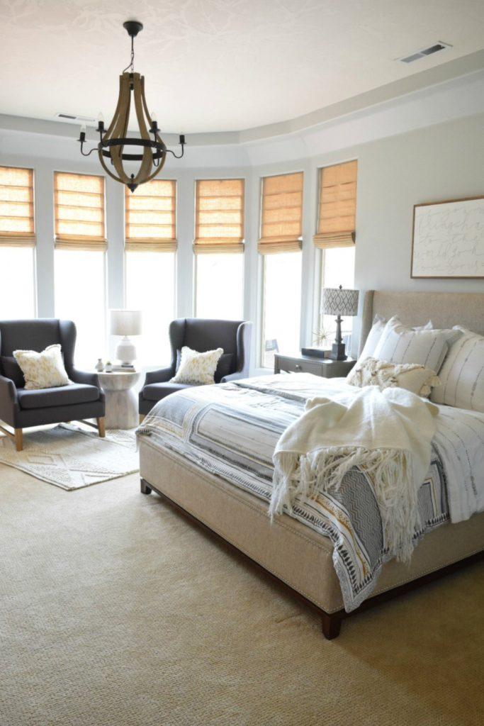 Master Bedroom Refresh Painted in Light Gray