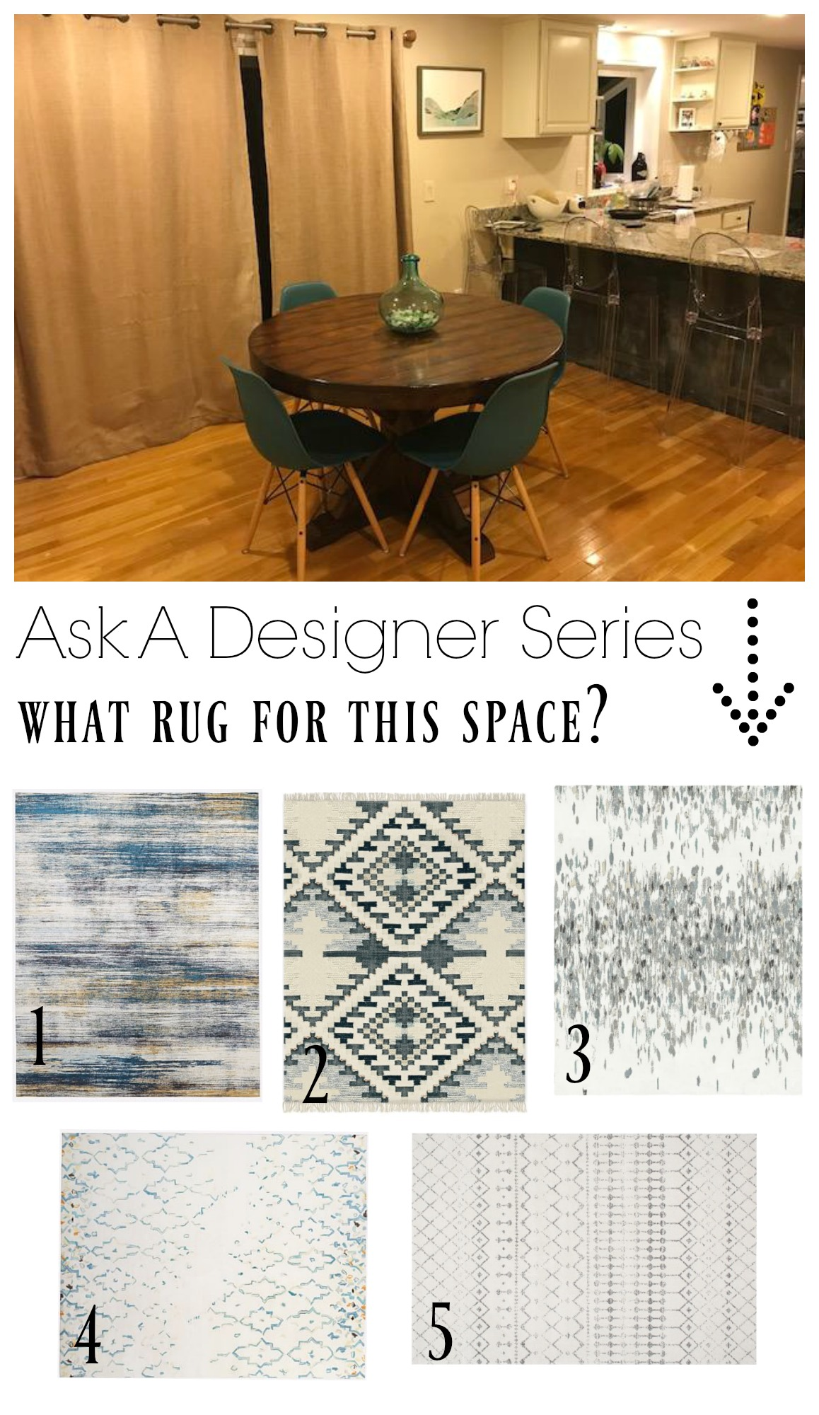 Ask a Designer Series- What rug for this space?