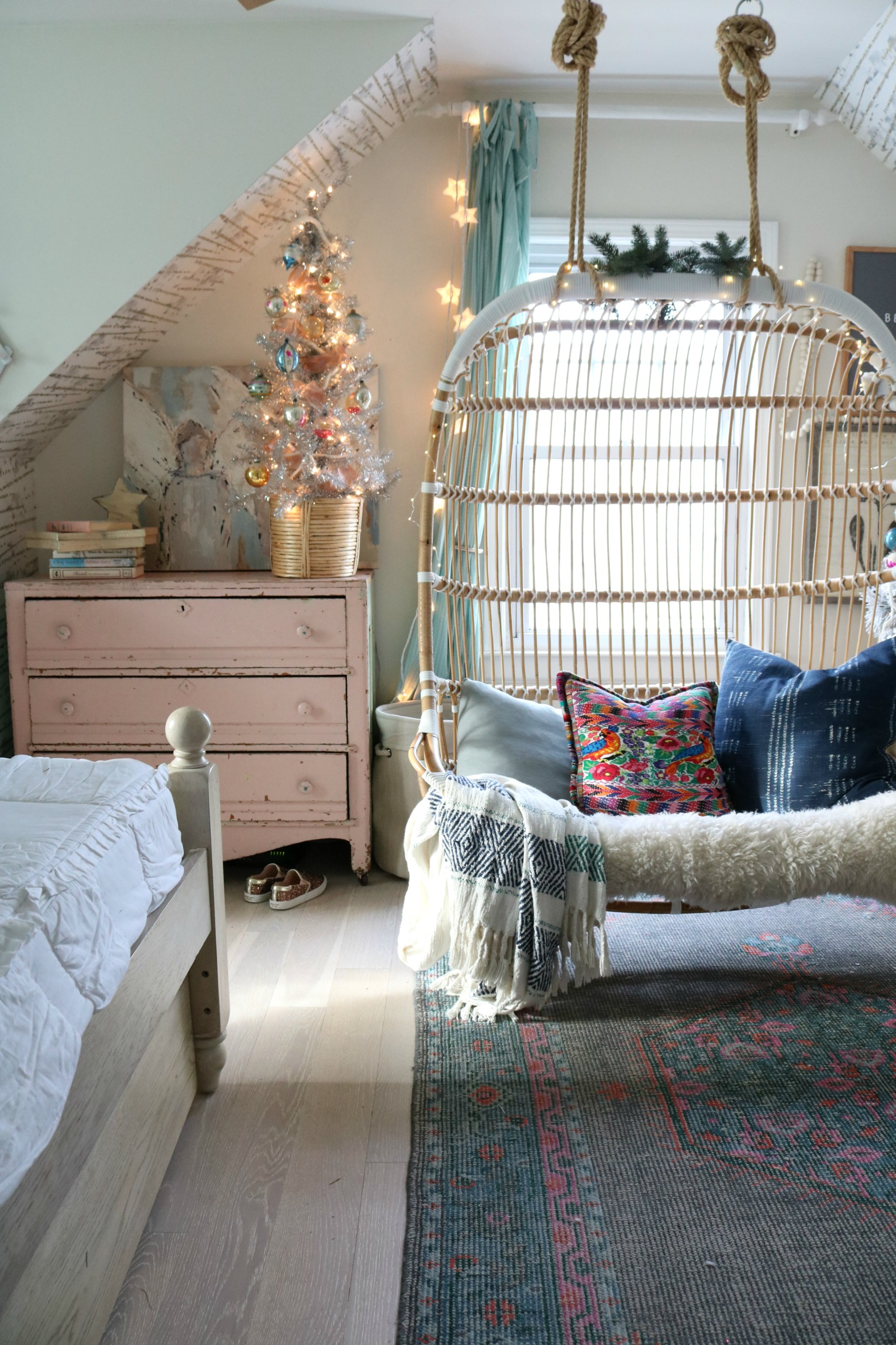 Christmas Decor in a Small Cape- Girls Shared Bedroom