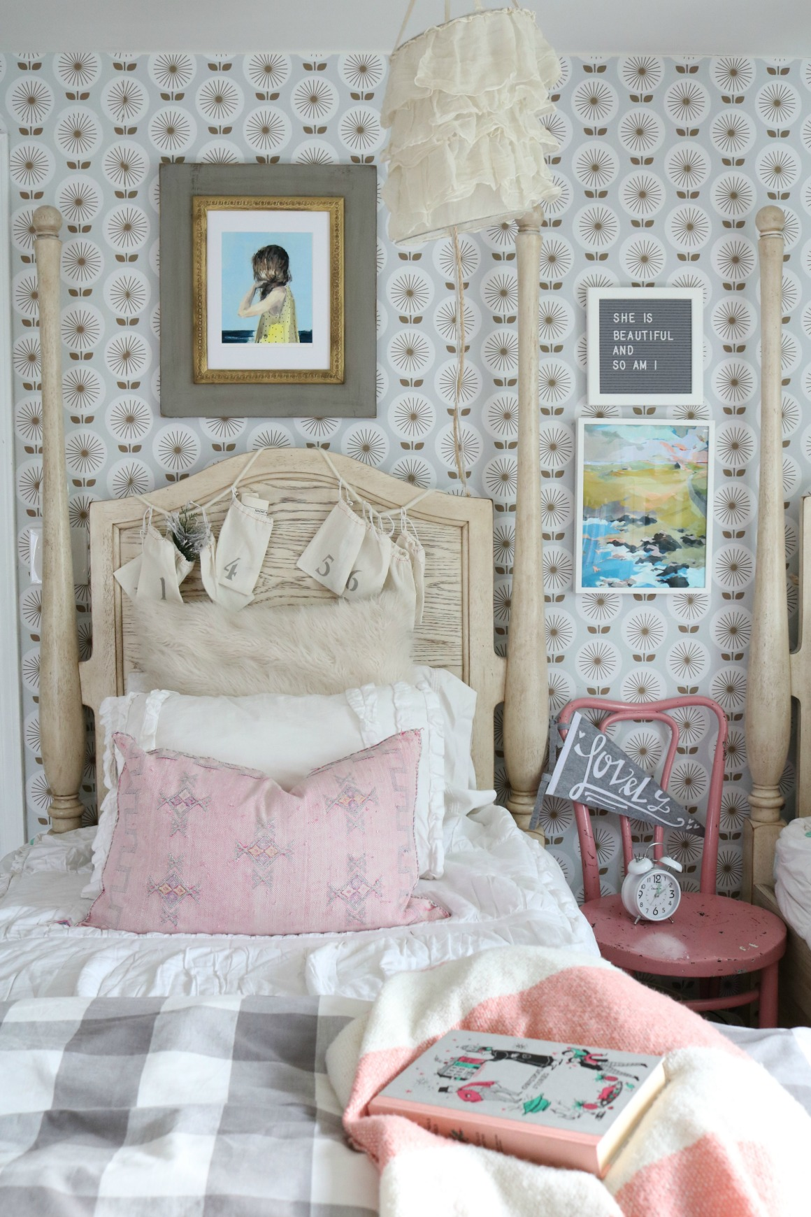 Christmas Decor in a Small Cape- Girls Shared Bedroom 0455