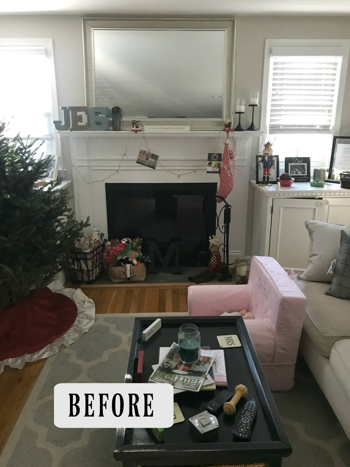 BEFORE- Fireplace Makeover- DIY and Target Decor