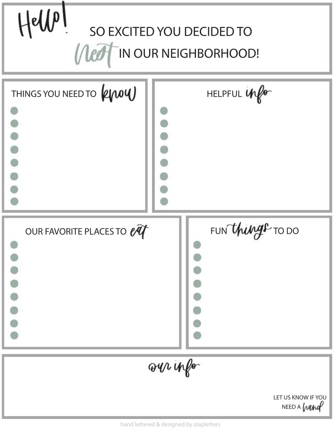 Welcome to the Neighborhood- FREE Printable