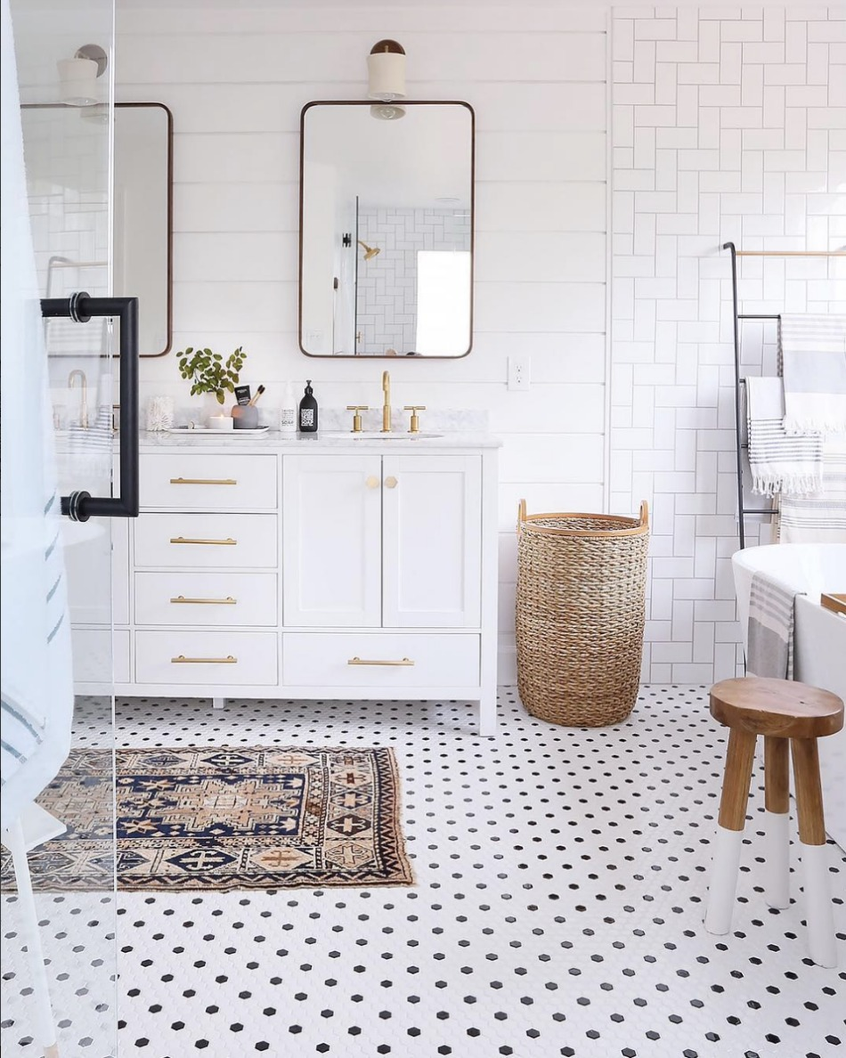 White And Gold Bathroom Design Plan  Eclectic Bathroom Design Plan