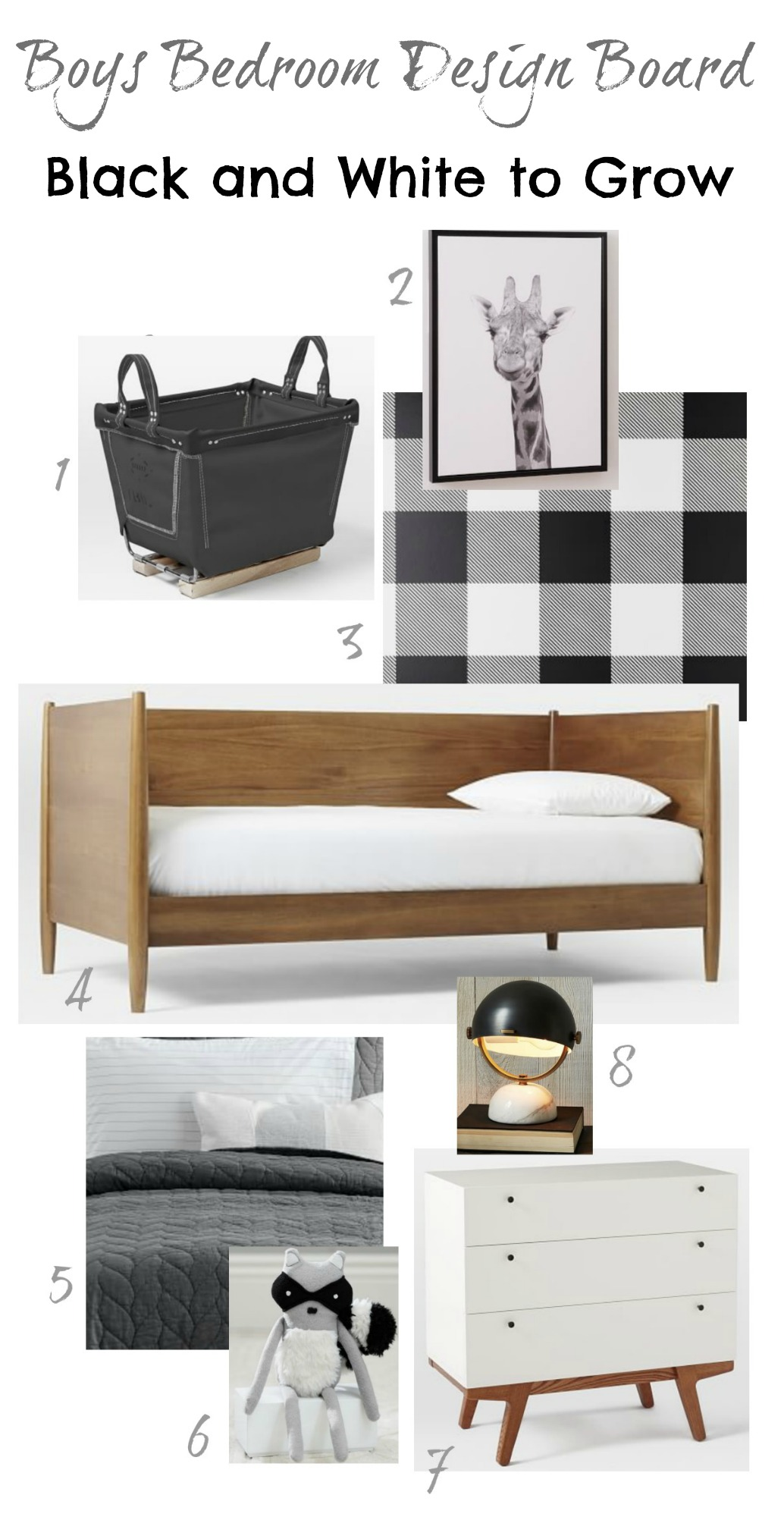 Boys Bedroom Design Board- Black and White to Grow with them!