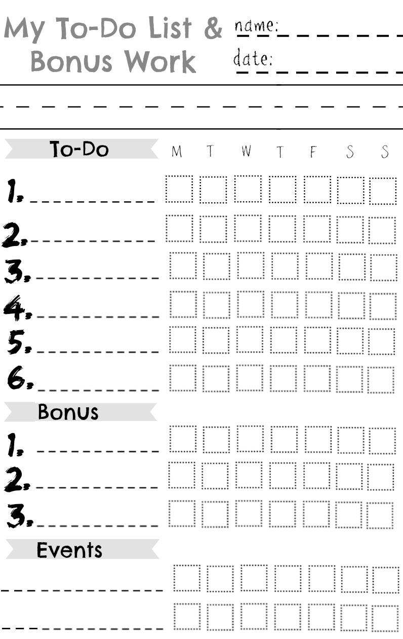 kids chore chart- great for a summer chart